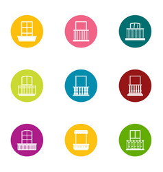 aperture icons set flat style vector image