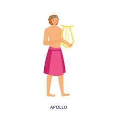 Apollo greek god or mythology personage flat vector