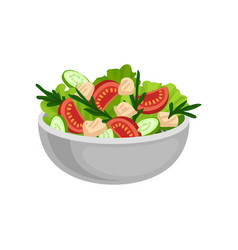 Appetizing salad in big ceramic bowl tasty and vector