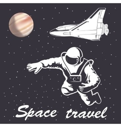 Astronaut to space travel vector