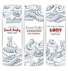 Bakery and sweet pastry food banner vector