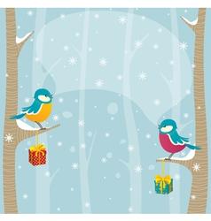 Birds in winter forest vector