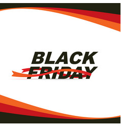 black friday sale banner with red ribbons vector image
