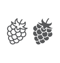Blackberry line and glyph icon fruit and vitamin vector