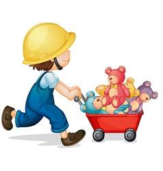 Boy pushing cart full of teddy bears vector