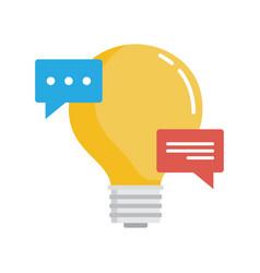 bubble speech with light bulb creative ideas vector image