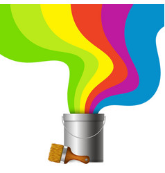bucket with paint and brush vector image vector image