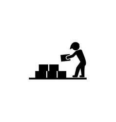 builder with building materials icon elements of vector image