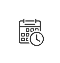 Calendar clock icon line outline art of vector