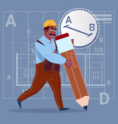 Cartoon african american builder hold big pencil vector