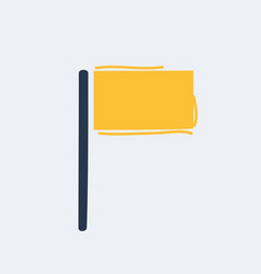 Cartoon flag yellow icon vector