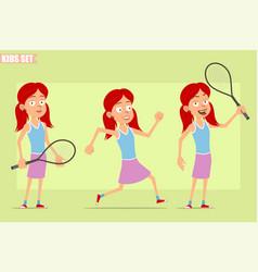 Cartoon flat redhead girl character set vector