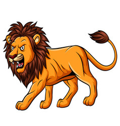cartoon roaring lion mascot on white background vector image