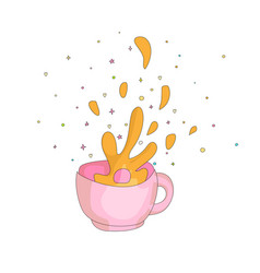 Cartoon spash in a pink cup icon drawing splash vector