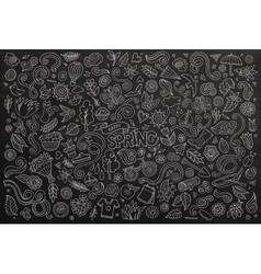 Chalkboard line art doodle cartoon set vector