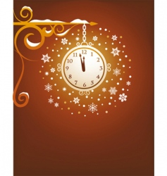 Christmas clock at midnight vector