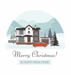 christmas cottage with red car vector image