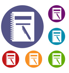 Closed spiral notebook and pen icons set vector