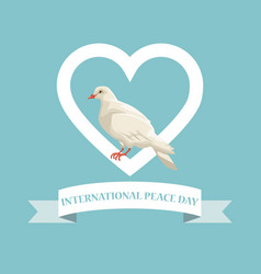 color poster pigeon in heart shape frame with vector image