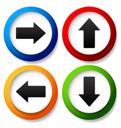 Colorful arrow icons pointing to all direction up vector