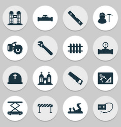 Construction icons set with miner pipeline with vector