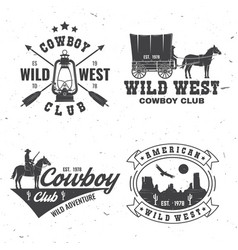 cowboy club badge wild west concept vector image