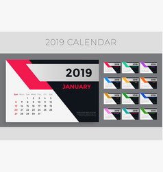 creative 2019 calendar template design vector image