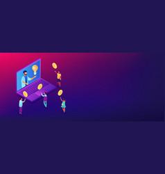 crowdfundingisometric 3d banner header vector image