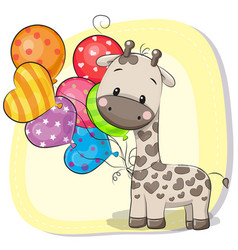 Cute cartoon giraffe with balloon vector
