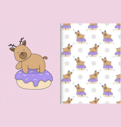 Cute deer with cake seamless pattern for vector