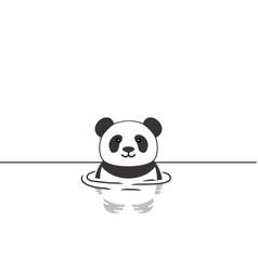 Cute panda swimming vector