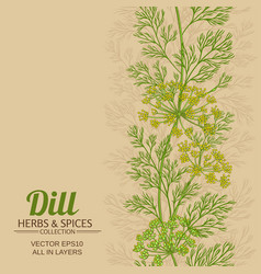 Dill plant pattern on color background vector