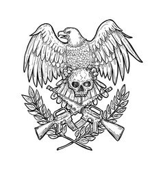 Eagle skull assault rifle drawing vector