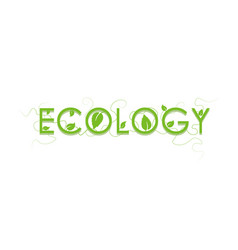 ecology sign logo green leaf icon vector image