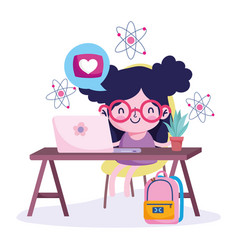 Education online girl in desk with laptop vector