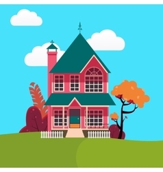 Family House Landscape with Trees vector image vector image