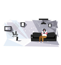 fat woman sitting on couch reading book obese girl vector image