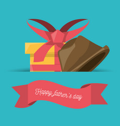 Fathers day ribbon with gift and hat vector