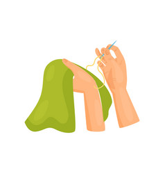 Female hands sewing clothes dressmaking and hobby vector
