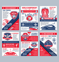 Football soccer championship posters vector