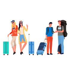 friends company going on vacation together vector image