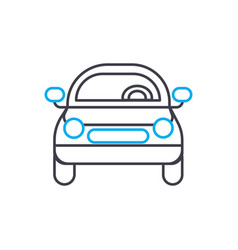 front of the car thin line stroke icon vector image