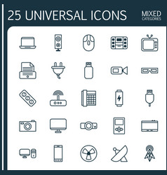 Gadget icons set collection of spectacles usb vector