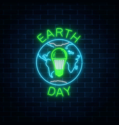 glowing neon sign of world earth day with globe vector image