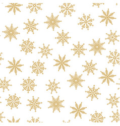 golden snowflake simple seamless pattern vector image