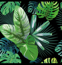 Green tropical rainforest seamless black vector