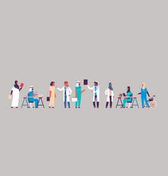Group arabic doctors hospital communication making vector