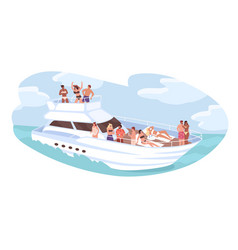 group diverse people relaxing on cruise yacht vector image