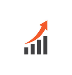 growing chart flat icon symbol premium quality vector image