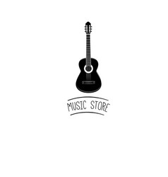 guitar icon acoustic musical instrument sign vector image